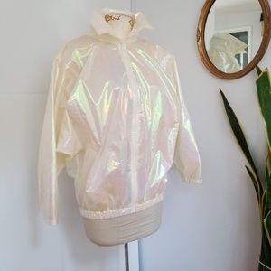 VTG: Sass Cellophane Iridescent Nylon Coat Sz M